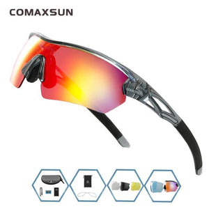COMAXSUN Professional Polarized Cycling Glasses Bike Goggles Outdoor Sports Bicycle Sunglasses UV 400 With 5 Lens TR90 2 Style