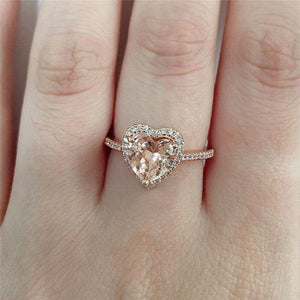 WUKALO Classic Solitaire Ring with Heart Shape Cubic Zirconia Prong Setting Wedding Engagement Rings for Women Girls Size 6-10