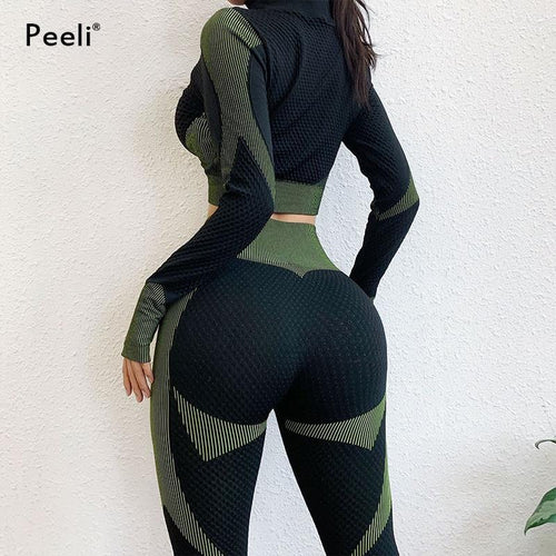 2 PC Long Sleeve Gym Cropped Top Seamless Leggings Yoga Set Workout Clothes Women Sport Suit Fitness Set Sports Bra Sportswear