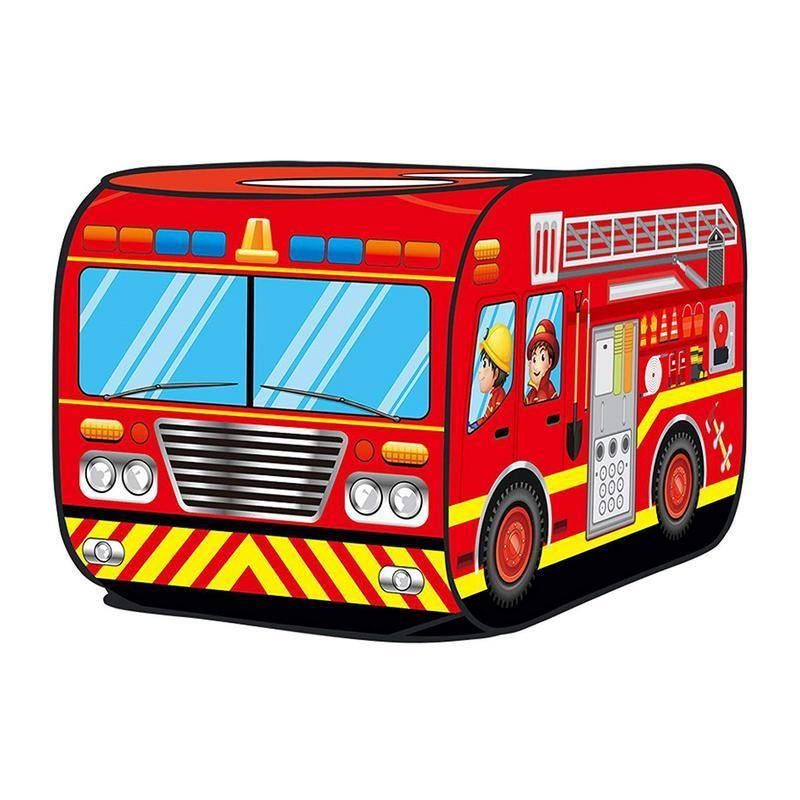 Kids Pop Up Play Tent Toy Foldable Playhouse Cloth Fire Truck Police Car Game House Bus