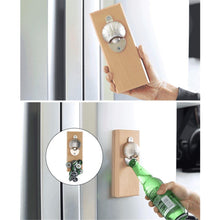 Automatic Bottle Opener Wooden Board Magnetic Refrigerator Beer Basketball Football Cap for Home Bar
