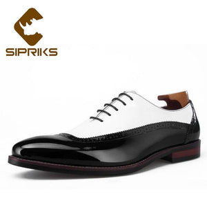 Sipriks Luxury Mens Patent Leather Black And White Patch Work Oxfords Elegant Male Wedding Party Dress Shoes Men Boss Business