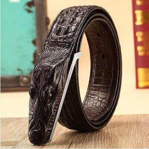 2018 new men's belt crocodile belt Genuine leather alligator strap crocodile head belt real cowhide fashion belts gift for men