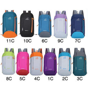 10L Men Women Child Travel Hiking Bag Zipper Adjustable Belt Camping Knapsack Outdoor Sports Light Weight Waterproof Backpack