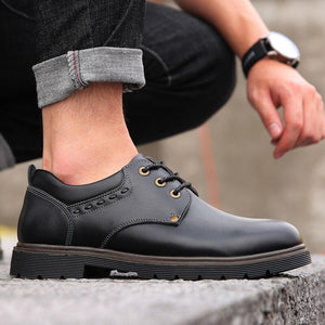 England Luxury Leather Shoes Men Formal Dress Fashion Oxfords Spring Autumn Safety shoes Lace-up Outdoor Mens Martin Shoes