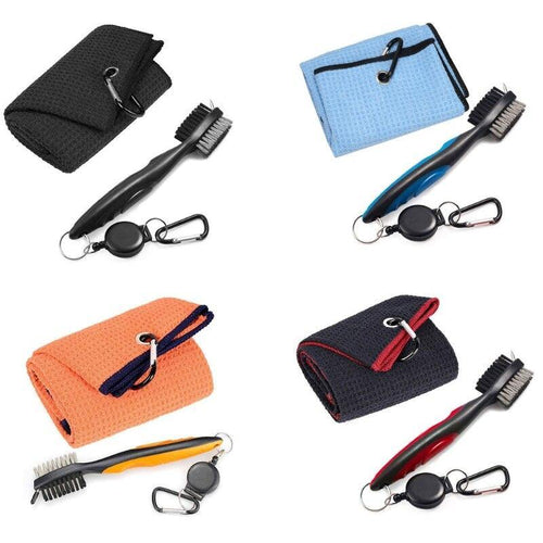 Golf Club Brush and Towel Kit Cleaner with Loop Clip for Hanging on Golf Bag Club Groove Ball Cleaning Tool Set Outdoor