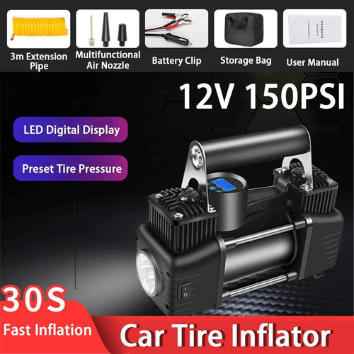 Car Air Compressor Portable Inflatable Pump Heavy Duty Digital Tyre Inflator 150PSI 12V Super Fast Air Compressors Tool Car SUV
