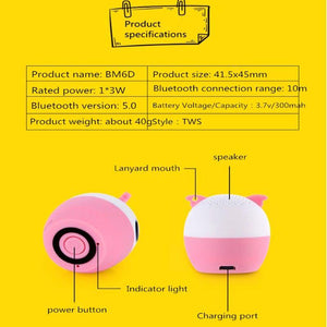 BM6 Mini Cartoon Animal Portable Outdoor Music Player Stereo Loundspeakers Subwoofer Wireless Bluetooth Speaker for Mobile Phone