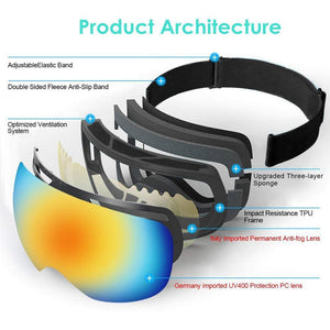 Ski Goggles Double Layers UV400 Anti Fog Glasses Protection Full Frame OTG Snowboard Snow Goggles for Men Women Youth