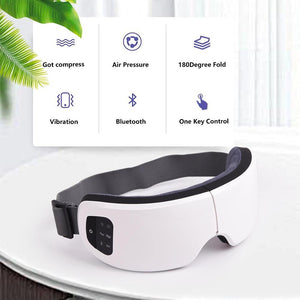HeTaiDa Eye Massager Anti Wrinkle Fatigue Relief Music Wireless Heating Air Pressure Vibration Eye Massage Glasses for Eye Care
