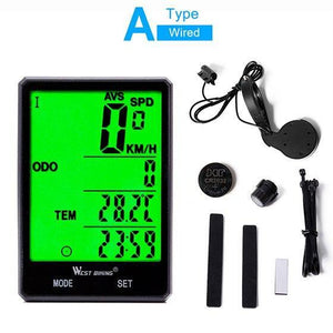 West Biking Wireless Bike Computer Speedometer Odometer Rainproof Bike Measurable Temperature Stopwatch Cycling Bicycle Computer