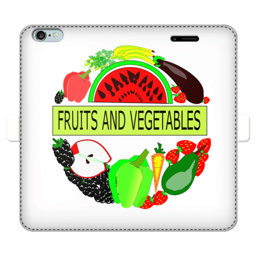 Leather Fruits And Vegetables Design Printed Money Wallet Cases