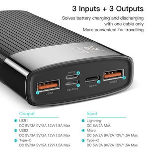 Portable Fast Wireless Power Bank 20000mAh QC PD 3.0  USB Charger