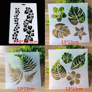 Leaves Stencils Template  for painting designs, 4pc/set: Art & Craft - Mercy Abounding