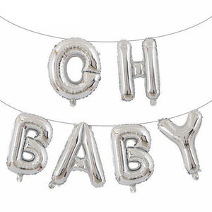 Beautiful Oh Baby Letter Foil Balloons Banner for Christening Decoration - Mercy Abounding