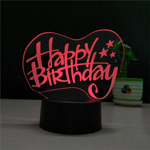 3D Birthday LED Night Lighting USB Remote Control - mercy-abounding