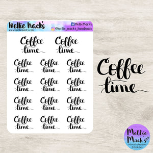 COFFEE TIME Hand Lettered Stickers