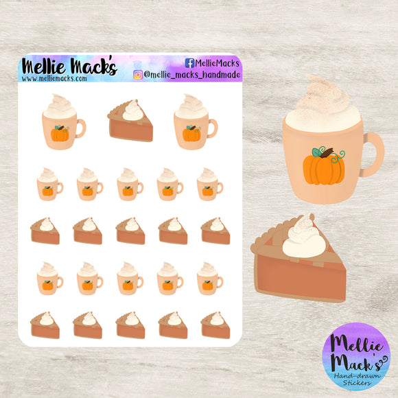 Pumpkin Spice Yummies - Mug and Pie Stickers