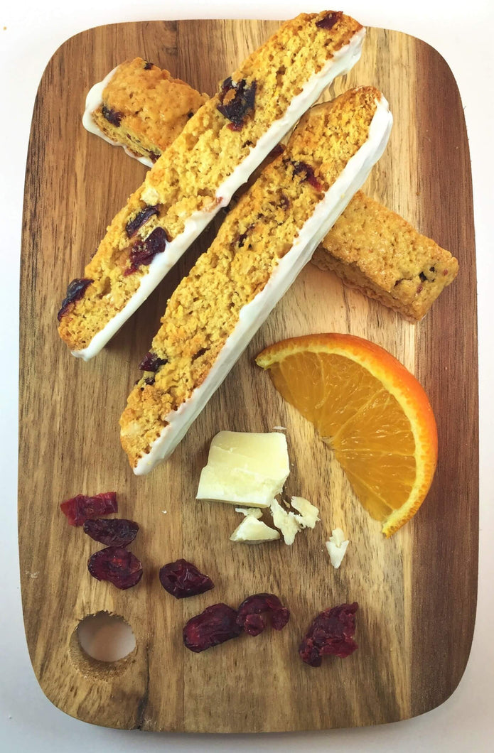 Cranberry Orange with White Chocolate Biscotti