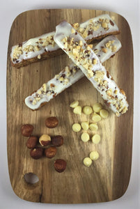 Roasted Hazelnut and White Chocolate Biscotti