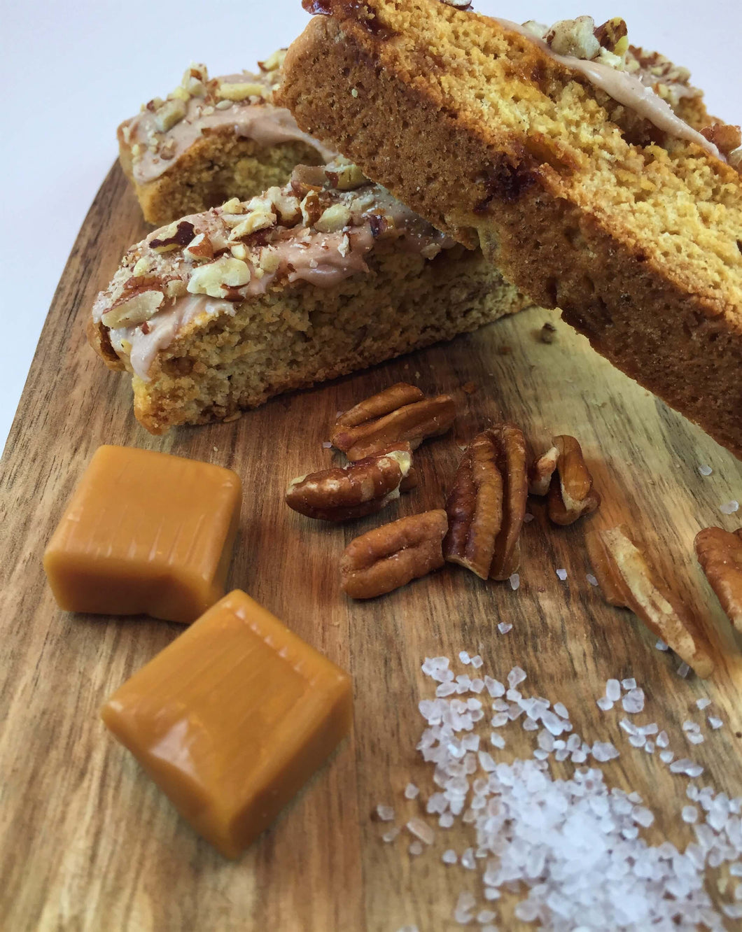 Salted Caramel with Pecans and Pretzel Biscotti