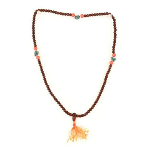 Redwood Mala with Turquoise & Glass Bead | Earthworks