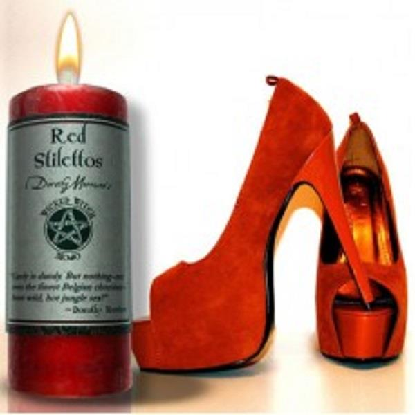 Wicked Witch Mojo Candle Red Stilettos | Earthworks