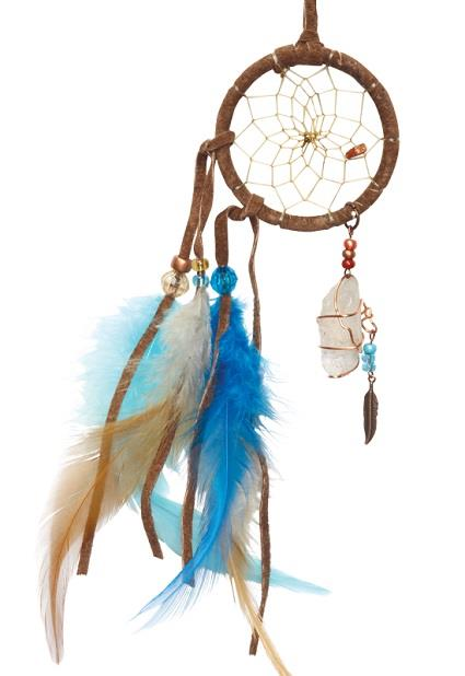 "Dreamcatcher 2"" Brown & Turquoise w/Quartz 