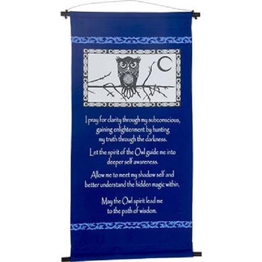 "Wall Banner Owl Spirit Prayer 15""x32"" 