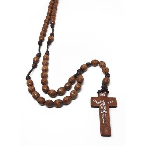 7mm Wooden Rosary Carved | Earthworks
