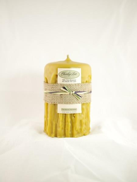 "Beeswax Candle 4.5""x5"" Hand Dripped 