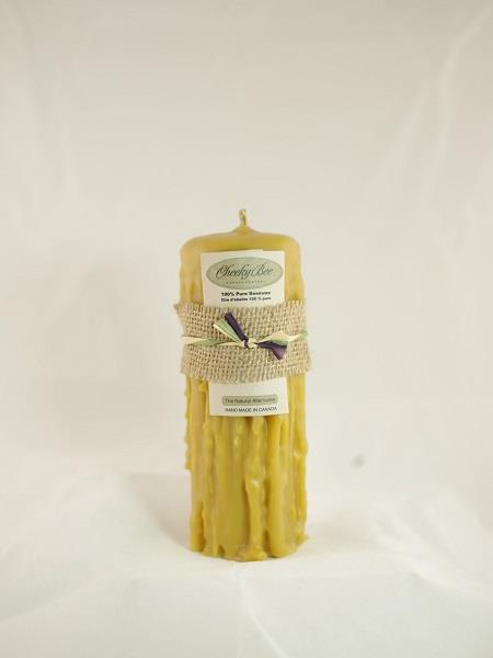 "Beeswax Candle 3.5""x8.5"" Hand Dripped 