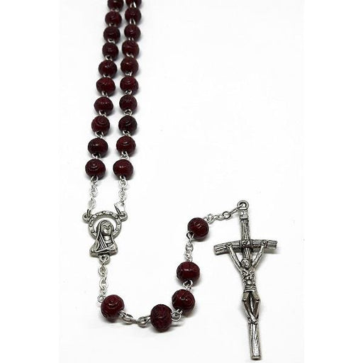 5mm Wooden Burgundy Rosary Carved | Earthworks