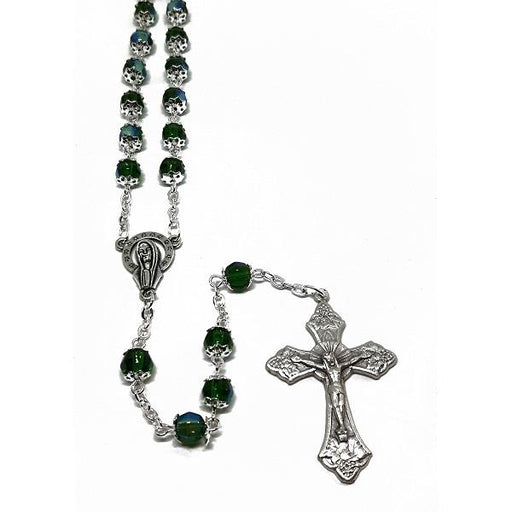 7mm Emerald Crystal Capped Rosary 19"