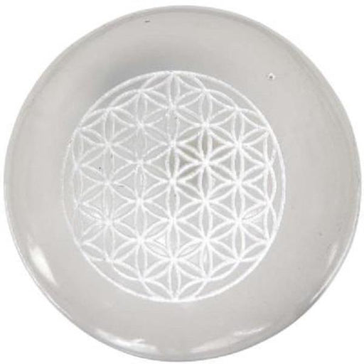 "2"" Etched Selenite Sphere Flower of Life 