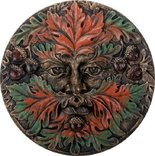 "Wall Plaque 5.5"" Greenman Fall 