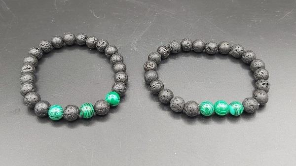 8mm Bracelet Lava Stone Malachite Large