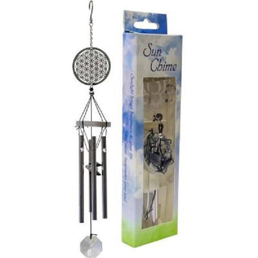 "10"" Metal Windchime Flower of Life 