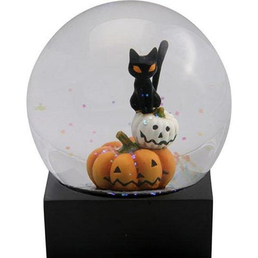 Water Globe Cat on Pumpkins | Earthworks