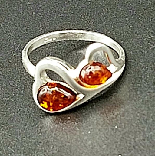 Ring Amber Double Heart Size 7.5 Sterling | Earthworks