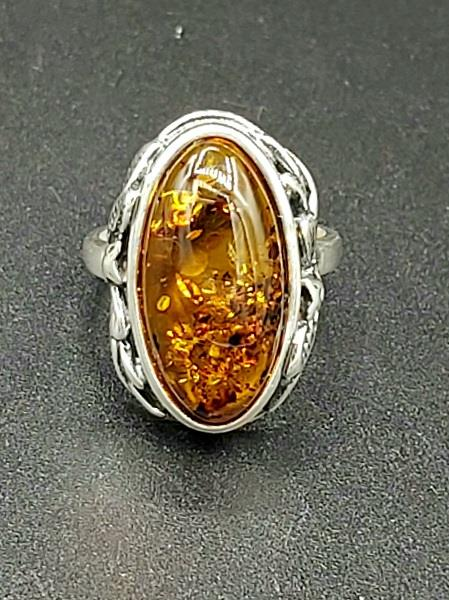 Ring Amber Size 10 Sterling Silver | Earthworks