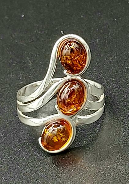 Ring Amber Size 9 Sterling Silver | Earthworks