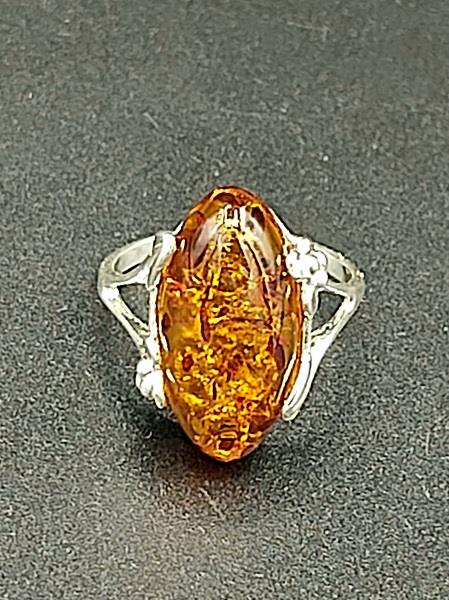 Ring Amber Almond Size 8 Sterling Silver | Earthworks