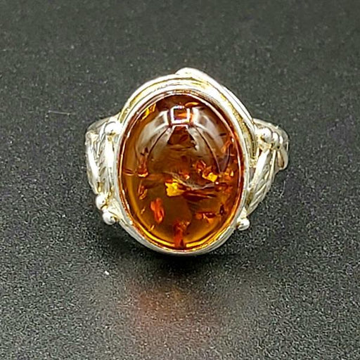 Ring Amber Oval Size 9 Sterling Silver | Earthworks