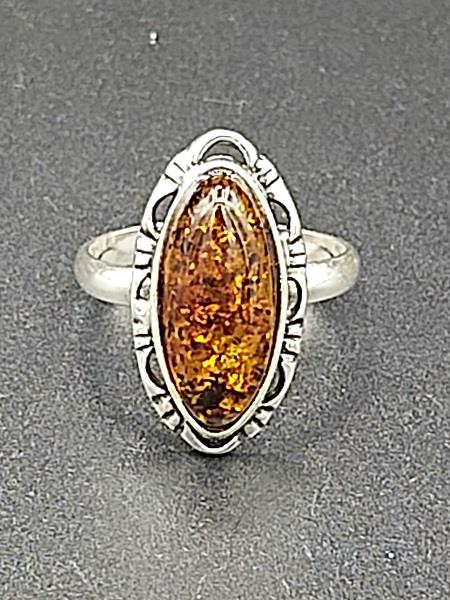 Ring Amber Almond Size 10 Sterling Silver | Earthworks