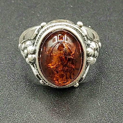 Ring Amber Oval Size 7.5 Sterling Silver | Earthworks
