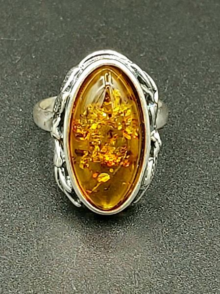 Ring Amber Almond Size 7.5 Sterling Silver | Earthworks
