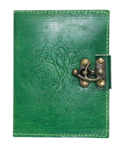 Leather Journal Green Tree of Life 4x5