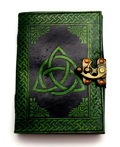 Leather Journal Black Green Triquetra