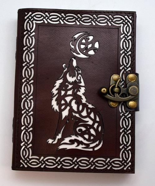 Leather Journal Celtic Wolf Moon